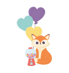 happy day little fox candies and balloons vector image