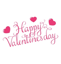 Happy Valentines Day Script With Hearts vector image
