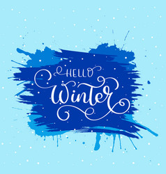 hello winter text christmas card design vector image