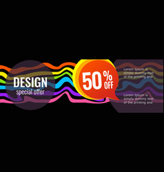 Horizontal color banners with rainbow waves vector