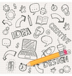 Idea concept with pencil and doodle sketches vector image