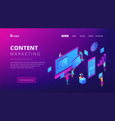 isometric content marketing landing page vector image