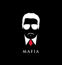Italian mafioso portrait man with mustache vector