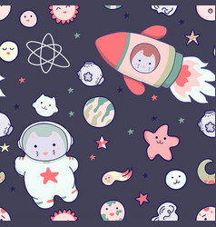 Japanese kawaii cat travels in space seamless vector