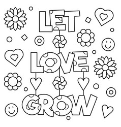 Let love grow coloring page vector