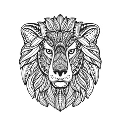 Lion ethnic graphic style with herbal ornaments vector