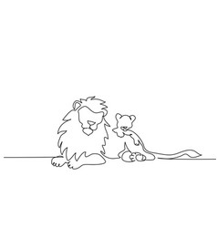 lion with a mane lying continuous one line vector image