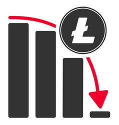 Litecoin falling acceleration chart flat icon vector