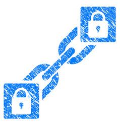Lock blockchain icon grunge watermark vector