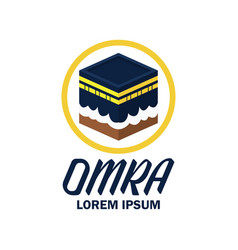 makkah kaaba hajj omra logo with text spacec vector image