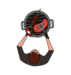 man with barbecue grill meat and kebab vector image