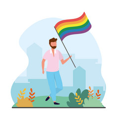 Man with rainbow flag to freedom parade vector