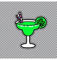 Margarita goblet with a slice of lime and straws vector