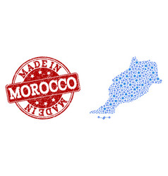 Mosaic map of morocco with cog links and made in vector