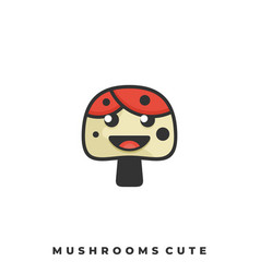 mushrooms cute template vector image