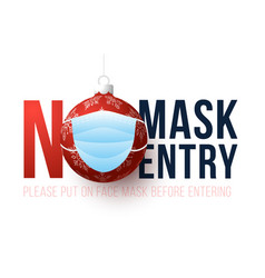 No mask entry merry christmas and happy new vector