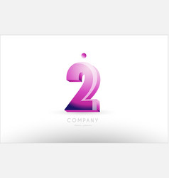 number 2 two black white pink logo icon design vector image