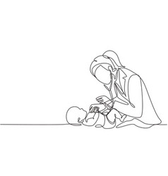 One single line drawing young female pediatric vector