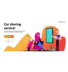 online carsharing woman and scooter rent vector image