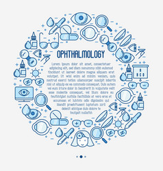 ophthalmology concept in circle with vision care vector image