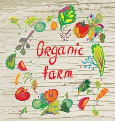 Organic farm banner with frame and texture vector image