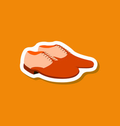 paper sticker fashion footwear pair of men shoes vector image