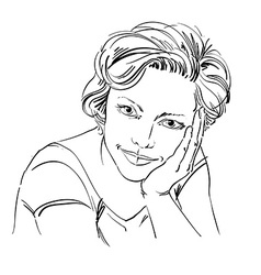 Portrait of delicate dreamy good-looking woman vector image