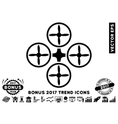 Quadcopter Flat Icon With 2017 Bonus Trend vector image