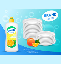 realistic detailed 3d dishwashing liquid soap ads vector image