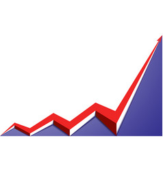 red arrow graph goes up blue background vector image