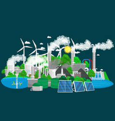 Renewable ecology energy icons green city power vector