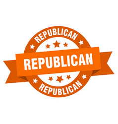 republican ribbon republican round orange sign vector image