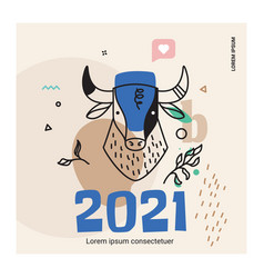 retro bull banner for new year greetings social vector image