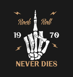 rock-n-roll music grunge typography for t-shirt vector image