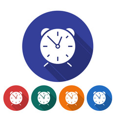 round icon of alarm clock flat style with long vector image