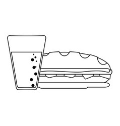 Sandwich with soda cup black and white vector