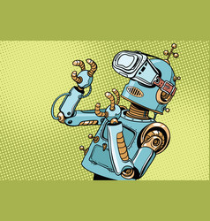 Scared retro robot in vr glasses vector