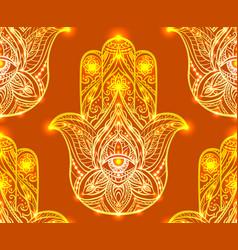 Seamless henna pattern with hamsa boho buddhas vector