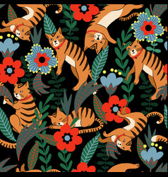 seamless pattern with tiger and flowers vector image