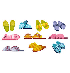 Set home footwear slippers soft comfortable vector