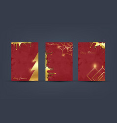 set merry christmas gold and red grunge template vector image