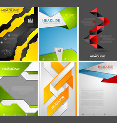 Set of bright tech flyer templates design vector image