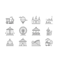 Set of linear park icons flat elements vector