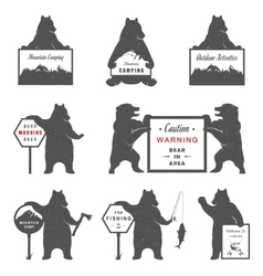 Sign Bear Camping vector