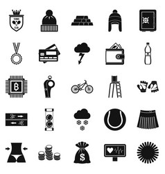 Sports on the beach icons set simple style vector