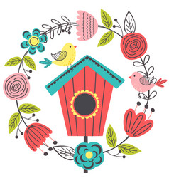 Spring floral frame with bird and birdhouse vector