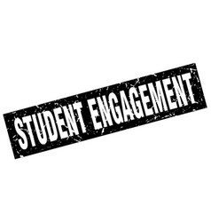 Square grunge black student engagement stamp vector