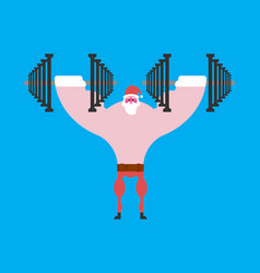strong santa claus and dumbbells christmas vector image