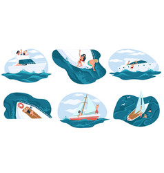 summer holidays and relax on yacht adventures vector image