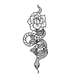 Tattoo with rose and snake traditional black vector